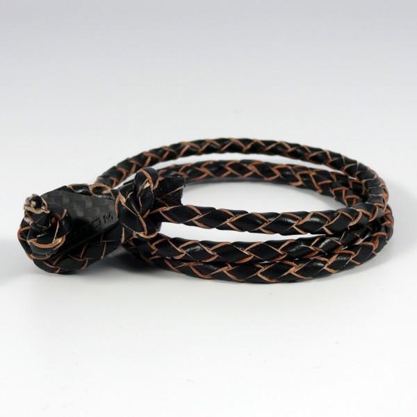 BERN | Leder geflochten Schwarz Naturkanten 3-fach